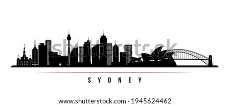 Sydney skyline horizontal banner. Black and white silhouette of Sydney, Australia. Vector template for your design.  Royalty-Free Stock Photo #1945624462