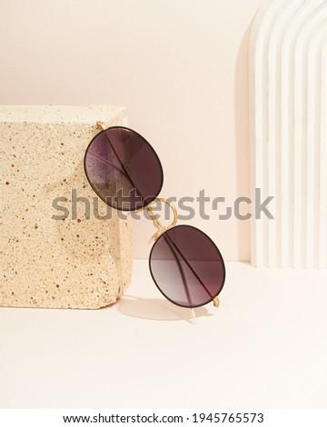 Eyewear sunglasses photography. The product still a life concept. Minimal still life.