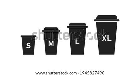 Coffee, cup size icon set. Paper, cafe design logo. Latte, small, medium, large, xl, mockup sign in vector flat style