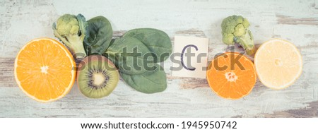 Vintage photo, Fruits and vegetables as sources of minerals containing vitamin C, fiber and minerals, strengthening immunity concept