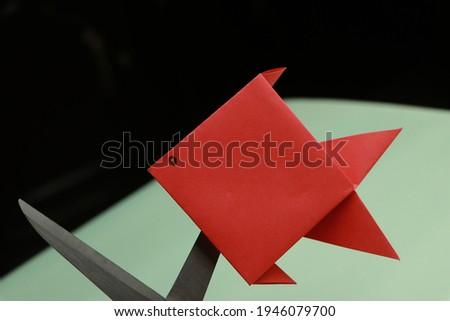 Red paper Fish Origami Stock Photo HD Closeup Macro Photo