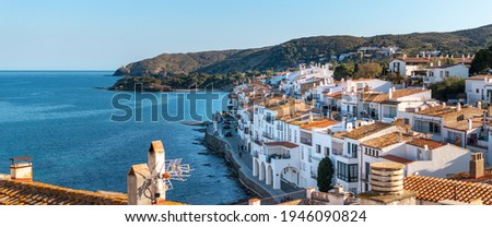 Cadaques traditional fishing village with white houses by Mediterranean coast, home of painter Salvador Dalí, Cadaqués close to Barcelona, Costa Brava, Girona, Spain. Panoramic picture