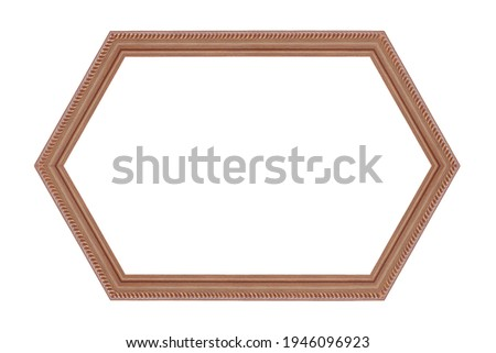 wooden hexagonal frame isolated on white background ,clipping path included use for design.