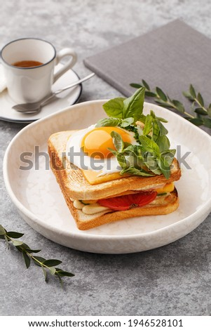 Croque madame - hot sandwich with ham, melted cheese and fried egg over gray concrete background and cup of espresso coffee. Side view, close up. Healthy delicious breakfast. Dish of French cuisine Royalty-Free Stock Photo #1946528101