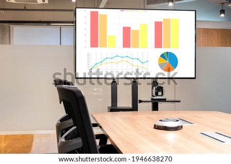 Television with presentation slideshow in meeting room
