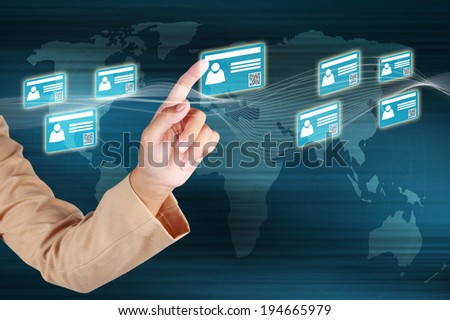 Businessman touching id card on virtual screen and showing the e-business concept.