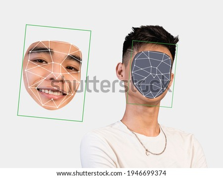 Deepfake concept matching facial movements with a different face of another person. Face swapping or impersonation.