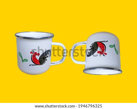 Mug Cap (Stainless), Rooster on yellow background