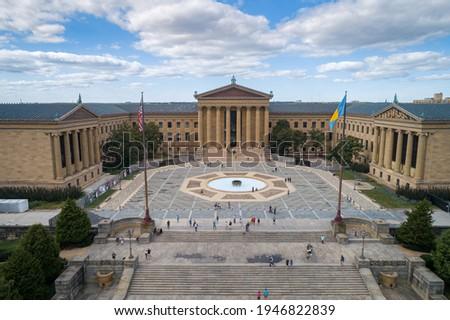 The Philadelphia Pennsylvania Museum of Art. 72 stone steps before entrance of Philadelphia Museum of Art, in Philadelphia, Pennsylvania