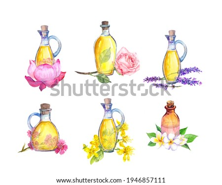 Set of bottles with essential oils from flowers:  rose, lavender, frangipany, lotus and other. Cosmetic, beauty, medical oils. Watercolor clip art
