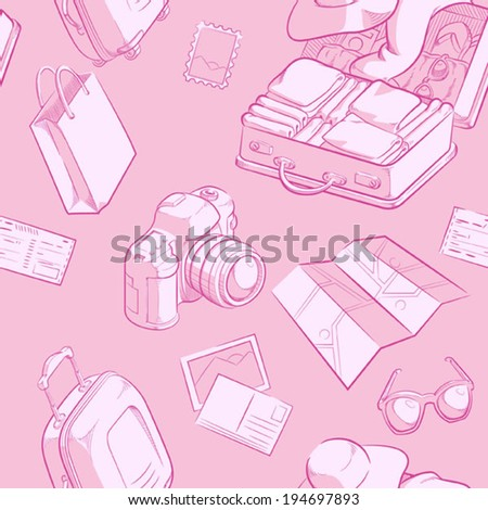 Travel Object Sketch Seamless Pattern #194697893