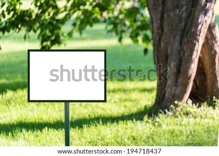 Signboard mockup in the park ready for branding identity and hipster logo drawing