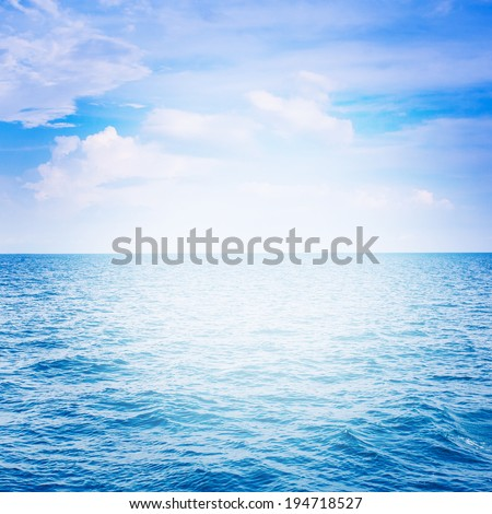 Blue sea with cloud for natural background #194718527