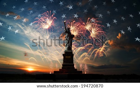 Statue of Liberty on the background of flag usa, sunrise and fireworks Royalty-Free Stock Photo #194720870