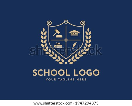 Bachelor hat, leaf, book, or crown icons. Vector golden wreath Logo Template. Beautiful badge design for high school education graduates in maritime science, law, study, university, or business. Royalty-Free Stock Photo #1947294373