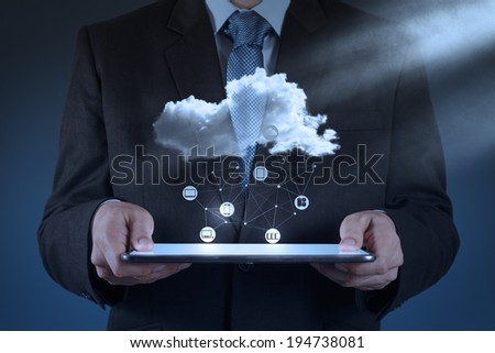 Businessman hand working with a Cloud Computing diagram on the new computer interface as concept #194738081