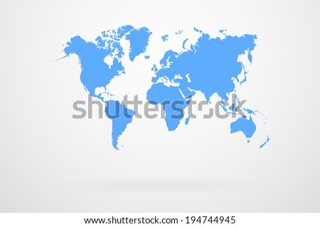 Blue World Map Vector Royalty-Free Stock Photo #194744945