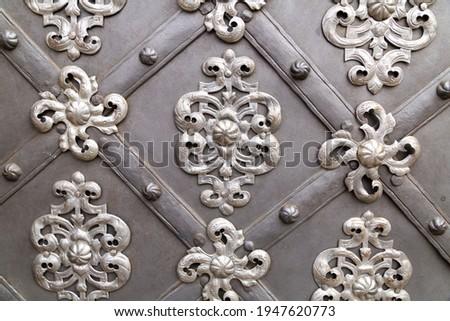 iron monograms decor elements vintage door background architecture gothic style