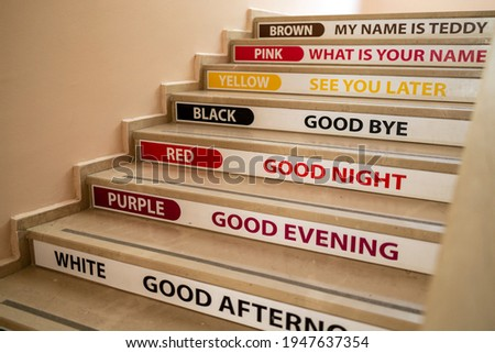english terms and colors on the elementary school staircase