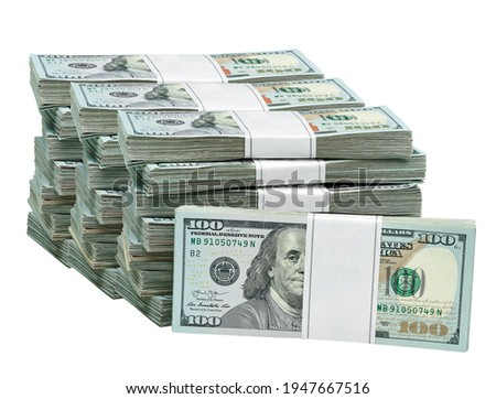 New design dollar bundles isolated on white background. 100- hundred dollar bucks. Including clipping path Royalty-Free Stock Photo #1947667516