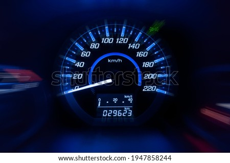 Dashboard ,Car speedometer and counter with dark mode Royalty-Free Stock Photo #1947858244