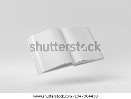 White Blank Open Magazine or Book floating in white background. minimal concept idea creative. monochrome. 3D render.