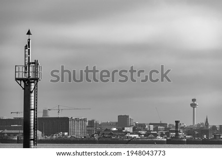 A picture of the Liverpool city skyline taken on a hazy cold day