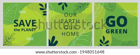 Set of Earth Day posters with green backgrounds, liquid shapes, leaves and elements. Layouts for prints, flyers, covers, banners design. Eco concepts. Vector illustration Royalty-Free Stock Photo #1948051648