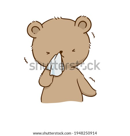 The bear chills and has a cold. He holds a handkerchief, wipes his runny nose. Cartoon character illustration for decoration in pet artwork advertising, clip art, textbook for small children.