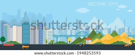City view with bridge. Modern metropolis with mountains. Vector poster. Royalty-Free Stock Photo #1948253593