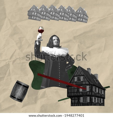 Contemporary art collage. Medieval man as a royalty person in vintage clothing.