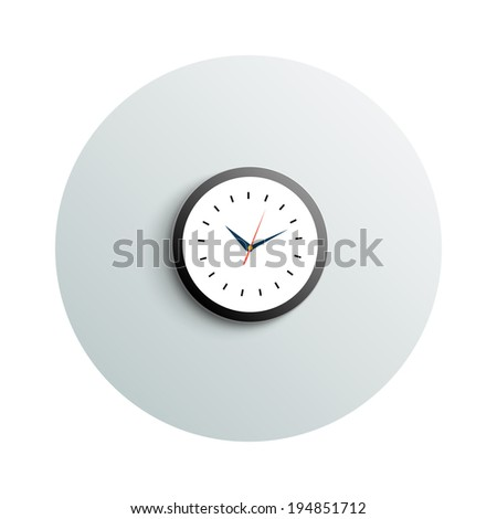 Detailed modern app icon of round office watch business concept on white background. Office and business work elements #194851712
