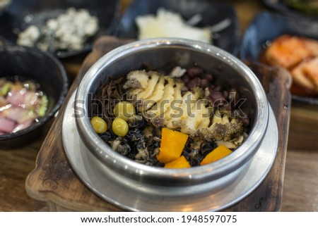 Korean style stone pot rice dish, abalone dolsot bap
