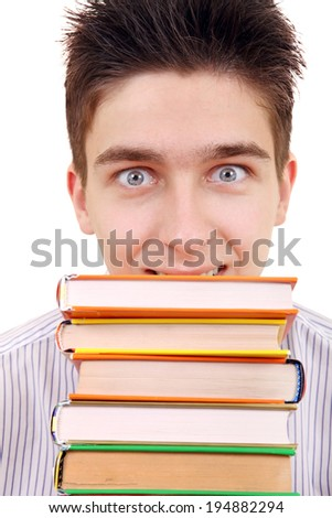 Cheerful Student behind the Books Isolated on the White Background #194882294