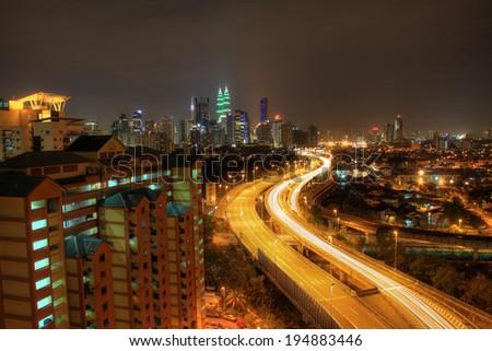 KUALA LUMPUR ,MALAYSIA-MARCH 29 2014 : EARTH HOUR, green colored Kuala Lumpur Convention Centre #194883446