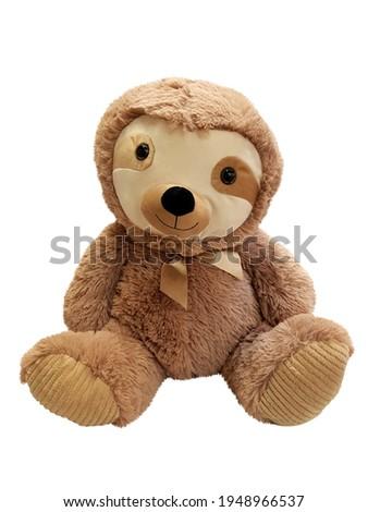 Stuffed animal sloth toy isolated on white background.