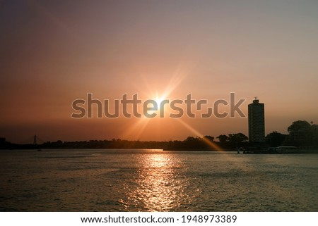 Lavender Bay and Blues Bay through sunglasses during sunset as seen from Milsons Point. Royalty-Free Stock Photo #1948973389