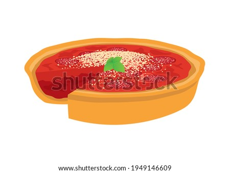 Chicago style Deep Dish Pizza illustration. Delicious deep dish pizza pie with tomatoes, salami and cheese icon isolated on a white background