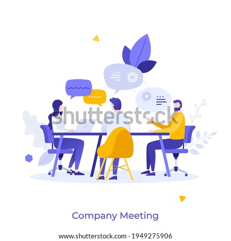 Group of clerks sitting at table and talking. Concept of corporate meeting, brainstorm, team discussion, conversation, business communication. Modern flat colorful vector illustration for poster. Royalty-Free Stock Photo #1949275906