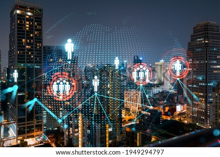 Glowing Social media icons on night panoramic city view of Bangkok, Asia. The concept of networking and establishing new connections between people and businesses. Double exposure. Royalty-Free Stock Photo #1949294797