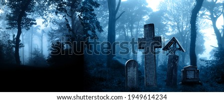 Horizontal banner with night nature scene. Mysterious landscape with Halloween scene with medieval stone crosses, tombstones in a cemetery in foggy forest. Photo toned in blue color Royalty-Free Stock Photo #1949614234