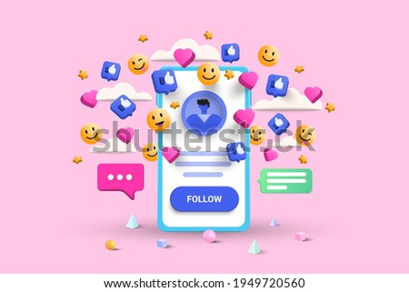 3D Social media platform, online social communication applications concept, emoji, hearts, chat and chart with smartphone background. 3d Vector illustration Royalty-Free Stock Photo #1949720560