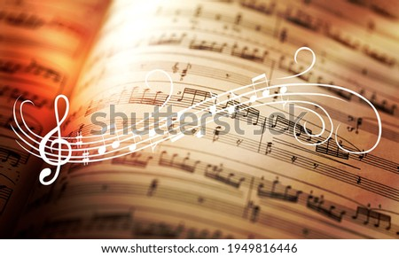 Classic sheets with music notes sign Royalty-Free Stock Photo #1949816446