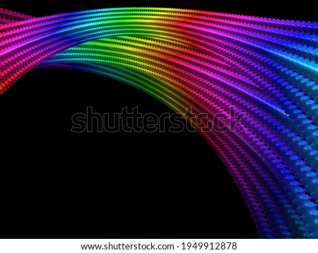 Abstract rainbow colored digital fractal art illustration, space sci-fi string effect Royalty-Free Stock Photo #1949912878