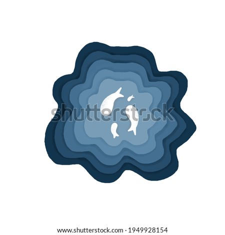 Blue fish inside brain for background or clip art