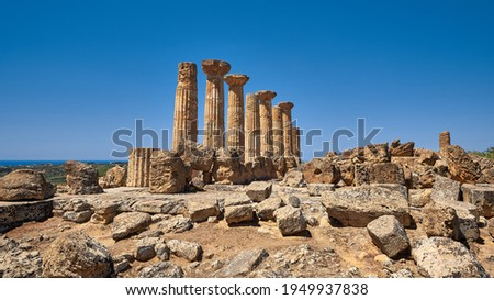The temple of Heracles or Hercules, known as Tempio di Eracle in Italian. Now it has only eight columns left. Valley of the Temples, Agrigento, Sicily, Italy.
