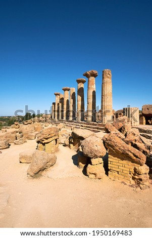 The temple of Heracles or Hercules, known as Tempio di Eracle in Italian. Now it has only eight columns left. Valley of the Temples, Agrigento, Sicily, Italy. Selective focus.