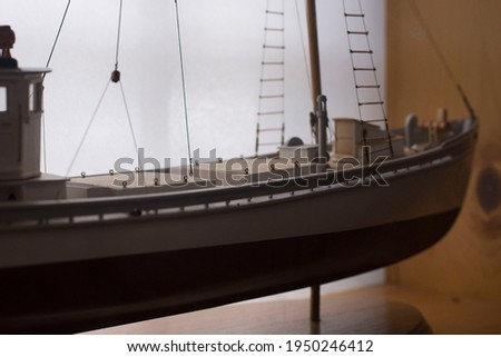 A picture of a wooden model sailing ship
