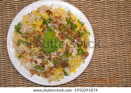 Photography of Tasty Food Indian Biryani at Restaurant.