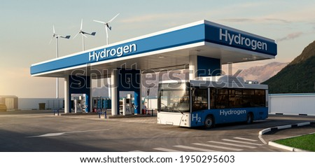 Fuel cell bus at the hydrogen filling station. Concept Royalty-Free Stock Photo #1950295603
